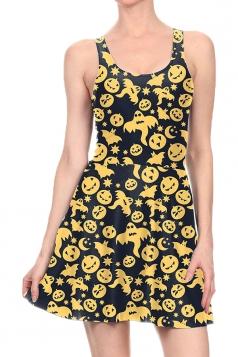 Women Halloween Pumpkin Ghost Printed Tank Skater Dress Black