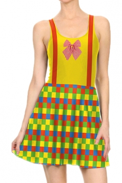Women Halloween Clown Costume Printed Tank Skater Dress Ginger