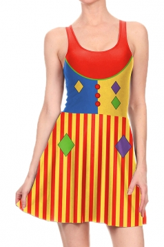 Women Halloween Clown Dot Printed Tank Skater Dress Red