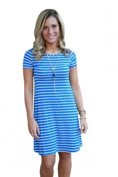 Women Casual Stripes Crew Neck Short Sleeve Shirt Dress Blue