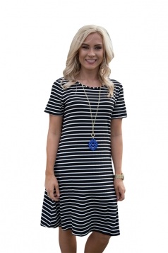 Women Casual Stripes Crew Neck Short Sleeve Shirt Dress Black