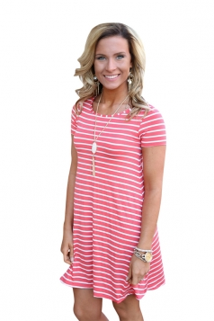 Women Casual Stripes Crew Neck Short Sleeve Shirt Dress Pink