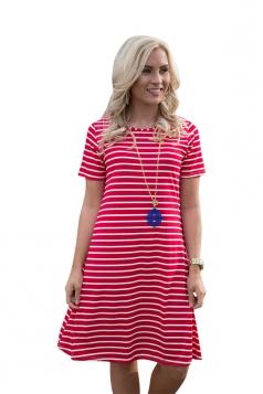 Women Casual Stripes Crew Neck Short Sleeve Shirt Dress Red