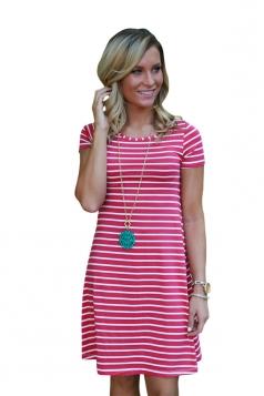 Women Casual Stripes Crew Neck Short Sleeve Shirt Dress Watermelon Red