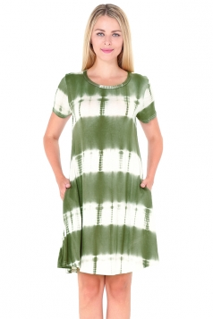 Crew Neck Short Sleeve Pleated Tie-Dyed Shirt Dress Green