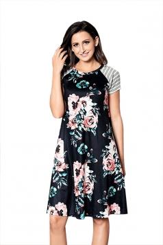 Women Crew Neck Stripes Floral Printed Loose Shirt Dress Black