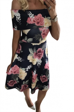 Women Sexy Off Shoulder Floral Printed Skater Dress Black