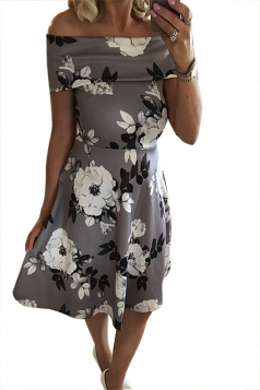 Women Sexy Off Shoulder Floral Printed Skater Dress Gray