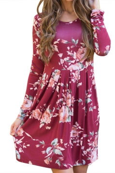 Women Crew Neck Floral Printed Long Sleeve Skater Dress Dark Red