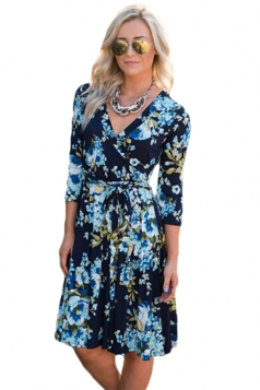 Women V Neck Tie Waist Floral Printed Long Sleeve Skater Dress Blue
