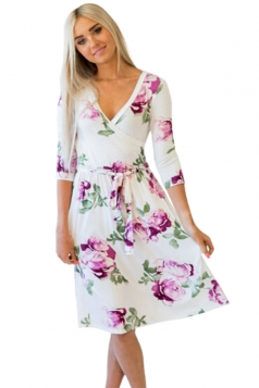 Women V Neck Tie Waist Floral Printed Long Sleeve Skater Dress White