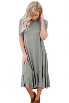 Flowy Ruffles Short Sleeve Fishtail Casual Dress Gray