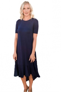 Flowy Ruffles Short Sleeve Fishtail Casual Dress Navy Blue