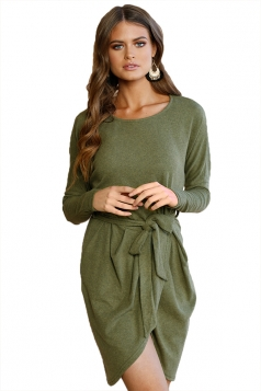 Women Long Sleeve Loose Casual Tie Waist Dress Army Green