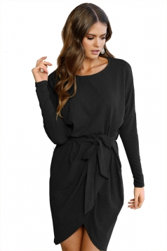 Women Bandage Dress Long Sleeve Loose Casual Mini Belted Dress Black