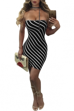 Women Sexy Off Shoulder Stripe Club Wear Bodycon Dress Black