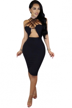Women Sexy Strappy Cut-Out Club Wear Bodycon Dress Black