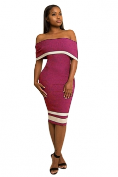 Women Sexy Off Shoulder Skinny Midi Bodycon Dress Purple