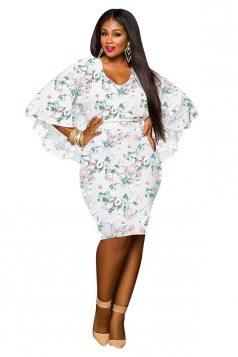 Women Plus Size Batwing Half Sleeve Floral Printed Midi Dress Green