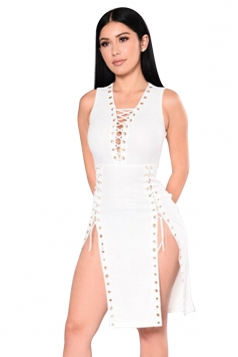 Women Sexy Lace Up Deep V Neck Side Split Club Wear Dress White