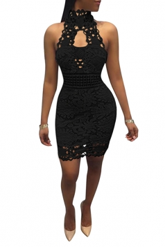 Women Sexy Lace Hollow Out Sleeveless Backless Club Wear Dress Black