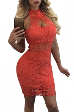 Women Sexy Lace Halter Hollow Out See Through Club Wear Dress Orange Red