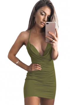 Women Sexy Low Cut Halter Backless Pleated Club Wear Dress Army Green
