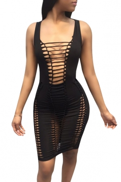 Women Sexy Hollow Out Strings Club Wear Dress Black