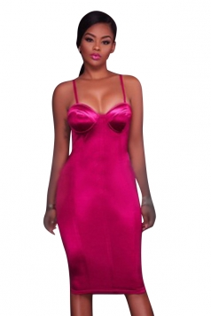 Women Sexy Plain Strap Slimming Midi Dress Pink