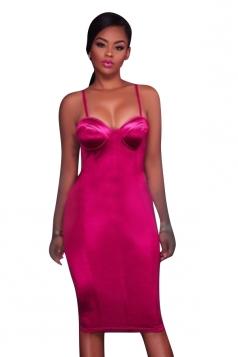 Women Sexy Plain Strap Slimming Midi Dress Pink