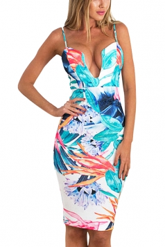 Women Sexy Strap Deep V Neck Printed Slimming Dress Light Blue