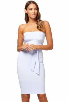Women Elegant Off Shoulder Slimming Plain Evening Dress White