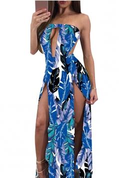 Women Sexy Split Cut Out Backless Printed Club Wear Dress Blue