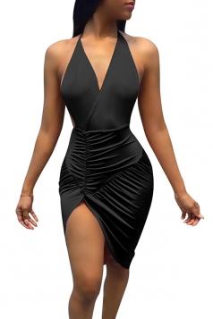 Women Sexy Deep V-Neck Backless Halter Slit Clubwear Dress Black