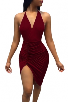 Women Sexy Deep V-Neck Backless Halter Slit Clubwear Dress Ruby