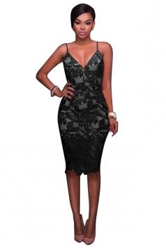 Women Sexy Spaghetti Straps Lace V-Neck Midi Dress Black