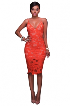 Women Sexy Spaghetti Straps Lace V-Neck Midi Dress Orange