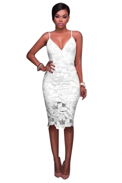 Women Sexy Spaghetti Straps Lace V-Neck Midi Dress White