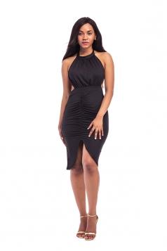 Women Sexy Sleeveless Lace Up Cut Out Clubwear Dress Black