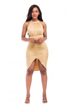 Women Sexy Sleeveless Backless Lace Up Cut Out Clubwear Dress Khaki