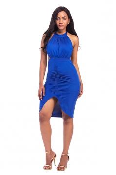 Women Sexy Sleeveless Lace Up Cut Out Clubwear Dress Sapphire Blue