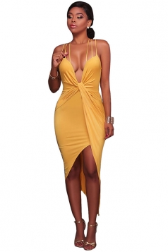 Women Sexy Halter V-Neck Lace Up Open Bra Clubwear Dress Yellow