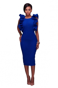 Women Sexy Ruffle Sleeveless Backless Slit Midi Dress Sapphire Blue
