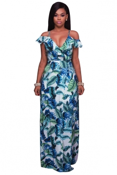 Women Sexy Deep V-Neck Spaghetti Straps Side Slit Maxi Dress Multicolour