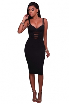 Women Sexy Strap Open Back Bandage Bodycon Club Wear Dress Black