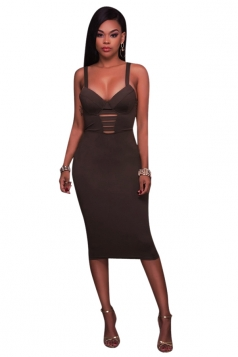 Women Sexy Strap Open Back Bandage Bodycon Club Wear Dress Brown