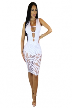 Women Sexy Deep V Cut Out See Through Club Wear Dress White
