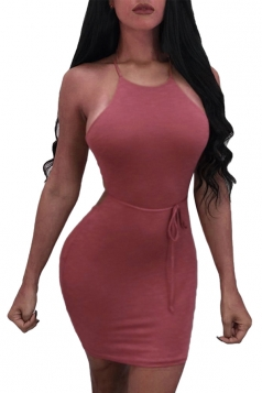 Women Sexy Halter Cross Lace Up Open Back Bodycon Dress Dark Red