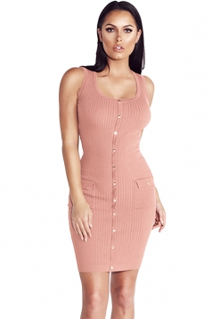 Women Sexy Plain Button Decoration Fitted Tank Bodycon Dress Pink