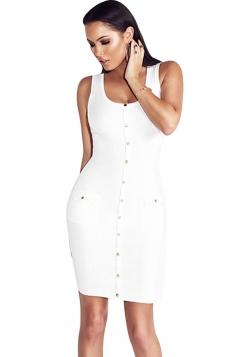 Women Sexy Plain Button Decoration Fitted Tank Bodycon Dress White